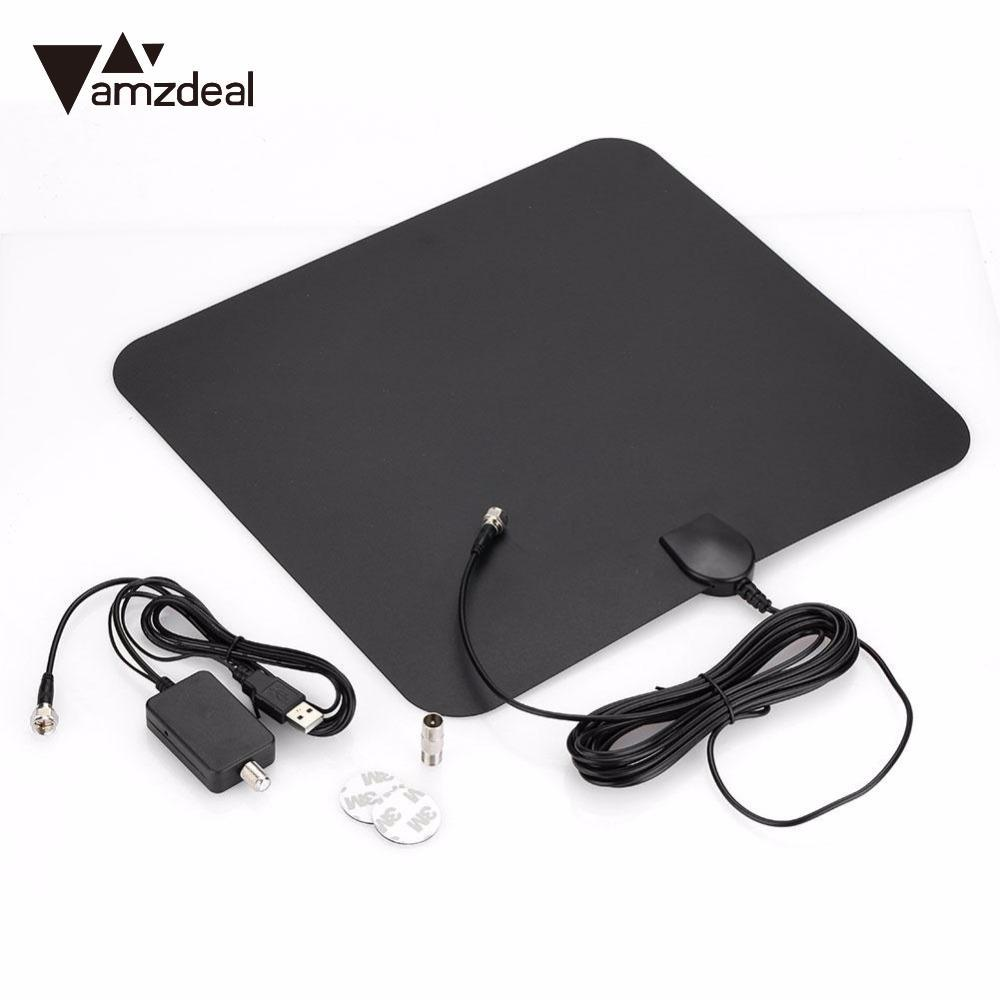 AMZDEAL High Quality HD TV Amplified Indoor Digital TV Antenna Television Antenna 50 Miles Range Amplified Magnifier Network