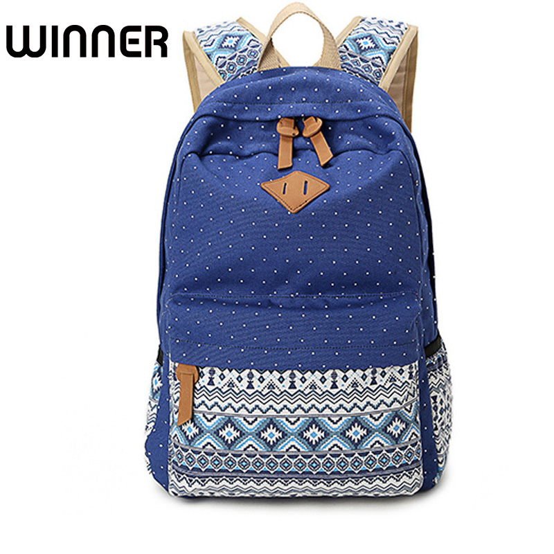 Vintage School Bags For Teenagers Girls Schoolbag Large Capacity Lady Canvas Dot Printing Backpack Rucksack Bagpack Bookag