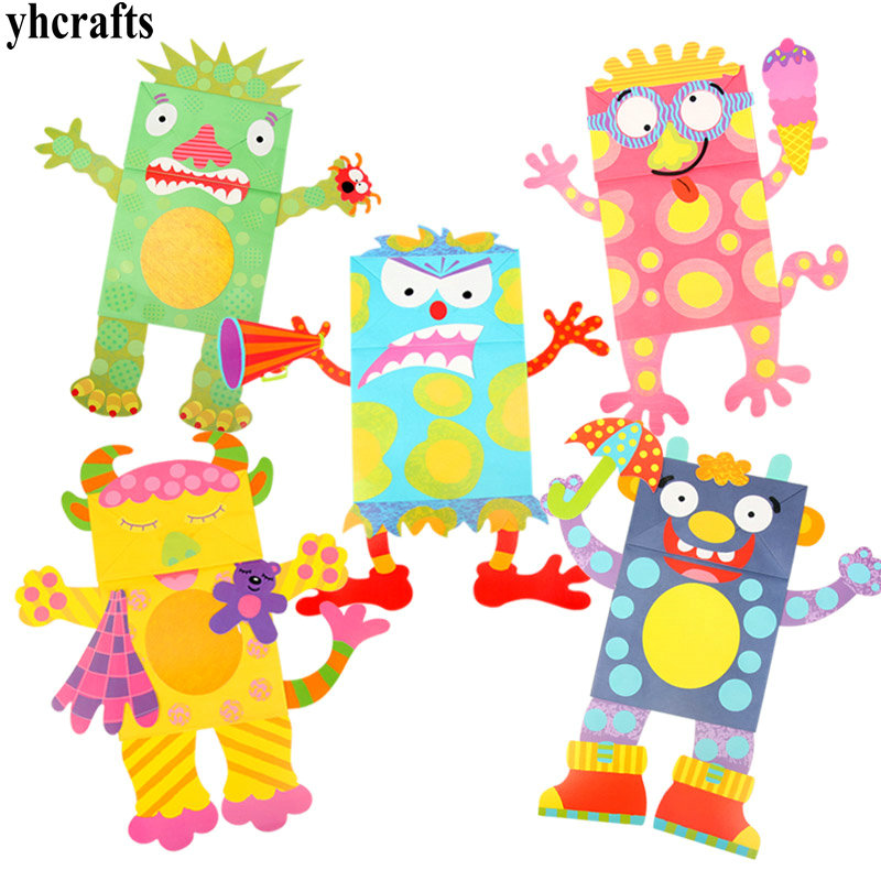 5pcslotdiy paper monsters hand puppets craft kit monsters crafts do it yourself also known as diy is the farm animals craft with our mitik animaux ferme kit you puppet paper crafts recycled toys puppets gifts solutioingenieria Gallery