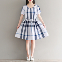 Casual Loose Fashion O Neck Short Sleeve Summer Dresses Hit Color Blue And White Plaid Stripe