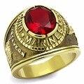 Dc1989 Американский Военный Морской Пехоты мужская Кольцо Полированная Нержавеющая Сталь IP Позолоченные Красный Главный Камень Окружающей Среде Материал