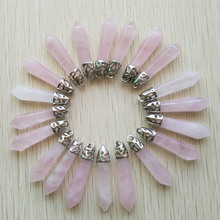 2018 Fashion good quality natural pink crystal stone pillar charms pendants 10x32mm for jewelry making 20pcs/lot wholesale free