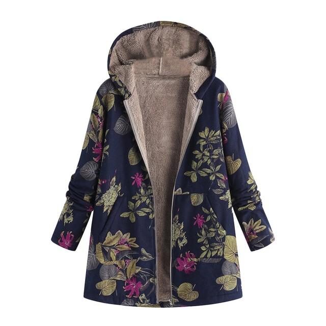 hooded Coats Cotton Winter Jacket Womens Outwear coat Warm Outwear Floral Print Hooded Pockets Vintage Oversize Coats