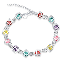 Cubic Colorful Crystal Charms Bracelet 925 Link Chain Silver Checkered Cube Box  Rhinestone Bangle Bracelet Gift Ladies Jewelry