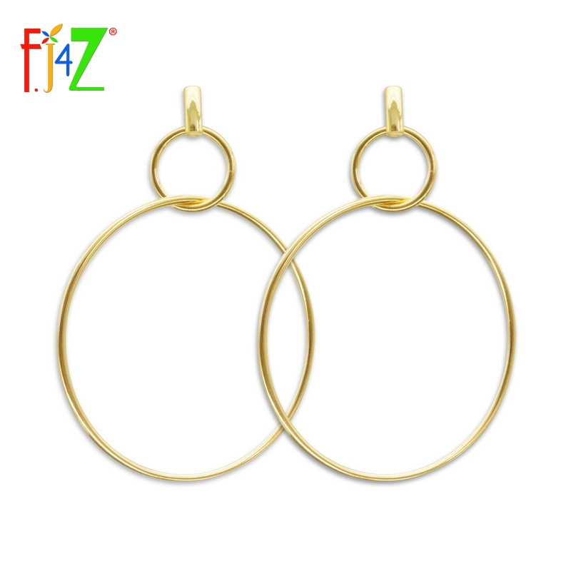 F.J4U (Jewelries4U) Store F.J4Z Brand 2017 New Arrival Female Popular Simple Circle Dangle Earrings Japan and South Korea Style Hundred-lap Girls Earrings