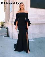 Mbcully Elegant Black Mermaid Evening Dresses 2019 Long Sweep Train Plus Size Women Side Split Prom Dress Arabic Robe De Soiree