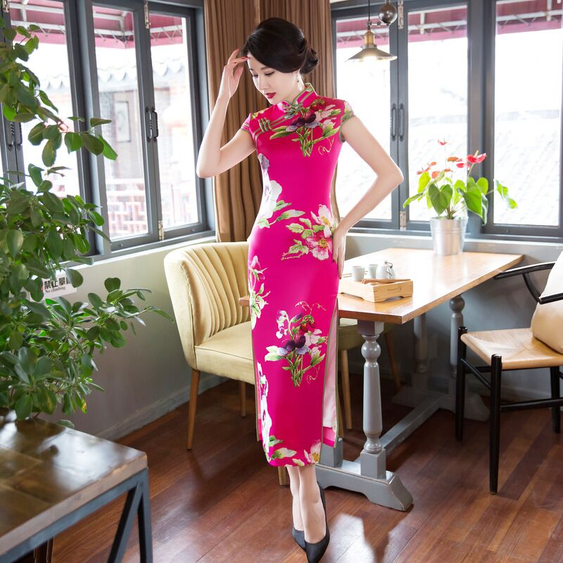 Taille 125752 Cheongsam S L Robe Xl Long Robes Xxl Chinois Arrivée Xxxl Mode M 077 Femmes Nouvelle Rayonne Qipao Style 076 De Élégante WE9ID2YH