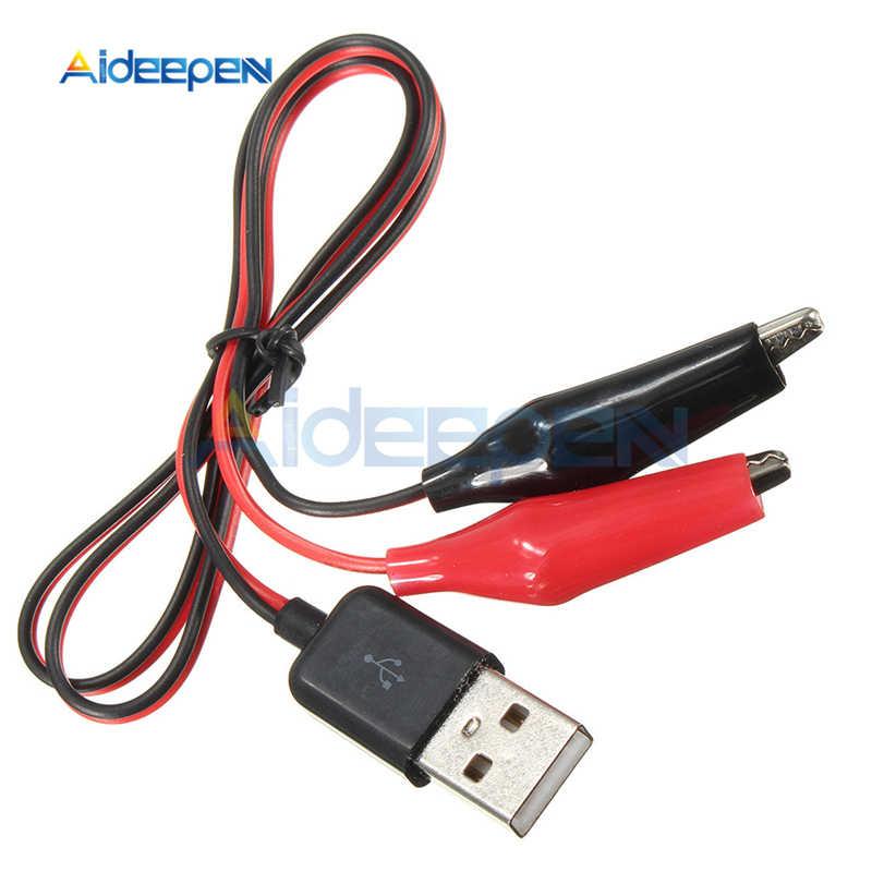 USB التمساح كليب التوصيل سلك التمساح ذكر AV إلى USB تستر الكاشف تيار مستمر الجهد متر أمبير قدرة السلطة متر رصد