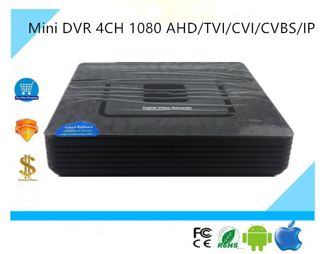 Mini DVR 4CH 1080 AHD TVI CVI CVBS IP Network DVR Digital Video Recorder XVR Coaxial