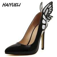 HAIYUELI Novo sonho Borboleta mulheres bombas de salto alto sapatos de mulher marca de moda estrela Catwalk festa de casamento do dedo do pé apontado stilettos