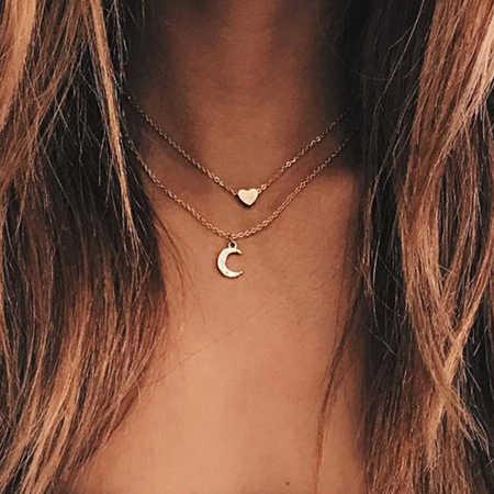 Cadena de dijes de clavícula de nuevo llegado de tenode cuentas bohemias concha de hojas de Luna pájaros collares colgantes para las mujeres regalos de San Valentín