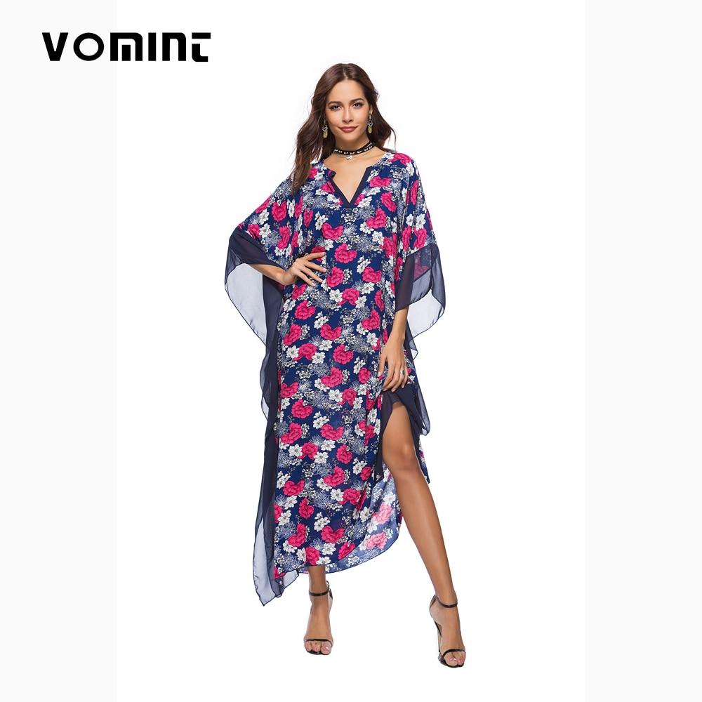 Vomint Women Sexy V-nec Dress Vestidos Elegant Printing Ladies Beach Dresses Female Batwing Sleeve Frocks L2785