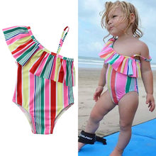 Rainbow Striped Baby Kids Girls Swimwear 2-7 Years Old Age Fits Baby Girls One Piece Swimsuit Cute One Shoulder Bathing Suit