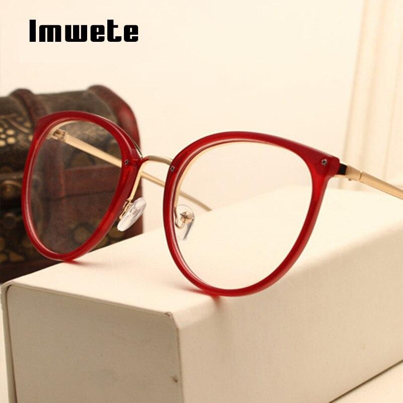 4a0fbe21b4a2f Optial Imwete Miopia Armações de Óculos Moda Lente Transparente Óculos  Mulheres Designer Óculos De Metal Do