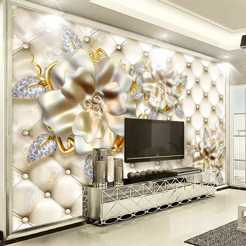 European Style 3D Stereo Gold Jewelry Flowers Photo Murals Wallpaper Living Room TV Sofa Hotel Luxury Decor Wall Paper 3D Fresco