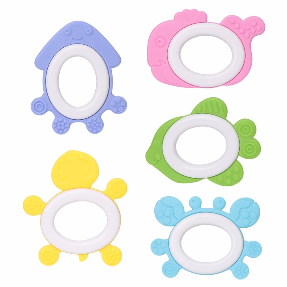 Baby Teether Soft Silicone DIY Kid Animal Shape Craft Handmade Chewing Ring Toys