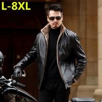 plus size 8XL 7XL 6XL 5XL New Warm Winter Sheepskin Men's Leather jacket Men Leisure Fur coat Men Brand luxury Real Leather coat