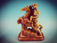 Chinese shoushan stone Hand carved Stone carving Horses and monkeys Statue