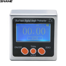 SHAHE Dual axis Digital Inclinometer with one sides magnets Aluminum Alloy Electronic Protractor Digital Angle Gauge Bevel Box