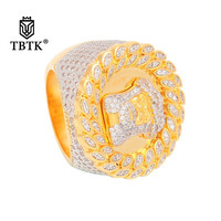 TBTK Jesus Head Model Round Hiphop Ring Gold Micro inlaid Sparkling Zircon Crystal Ring for Man 30mm Width Ring Western Style