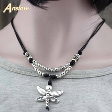 Anslow Hot Design Drongfly Antique Silver Friendship Collar Choker Statement Necklaces Dropshipping Mothers Day Gift LOW0023AN