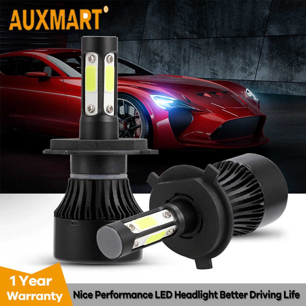 Auxmart H4 H7 H11 LED Headlight Bulb 9005 9006 LED Lamp Auto 100W 10000lm LED H4 6500K LED Car Light LED 4 Sides Headlamp 12v
