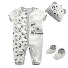 Новорожденных зимняя одежда для девочек Спортивный костюм для малышей 0-9 м хлопок мультфильм ребенка комбинезон Короткие рукава наряды Комплект одежды детский костюм