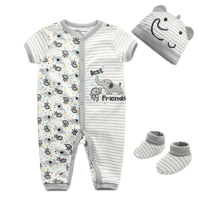 Cute Cotton Rompers with Hat and Socks