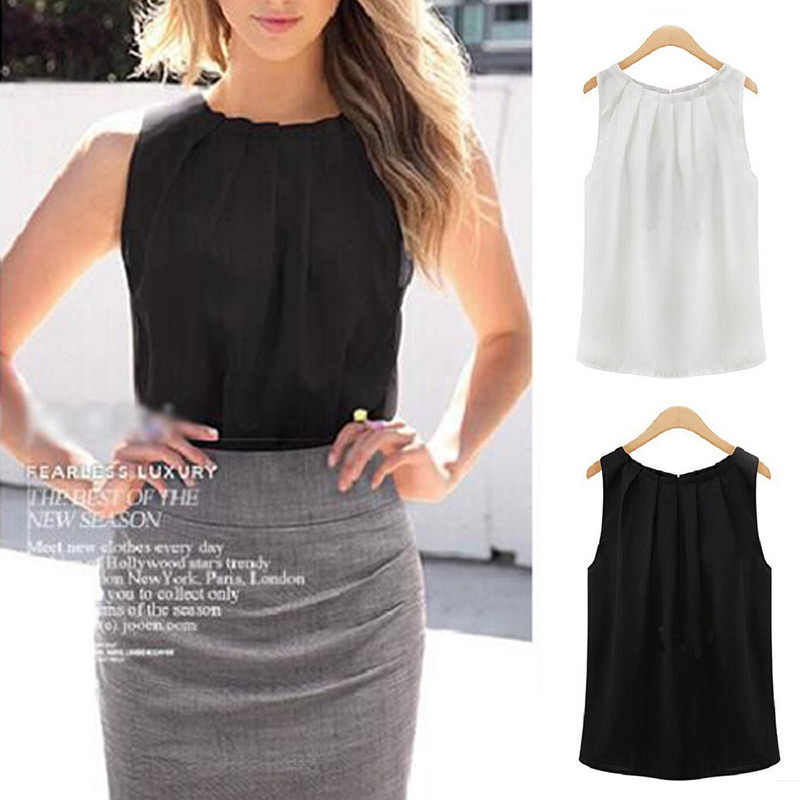 1PC Hot Dropship Office Women Black Chiffon Comfortable Soft White 5 Colors Women's Blouses Sleeveless Size S/M/K/XL/XXL/XXXL