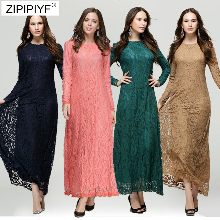 2018 New year Women Hollow Out Office Ladies Long Sleeve Lace Dress Solid Color Lace Ankle Length Dress O Neck Long Dress DC024