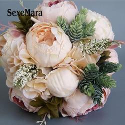 خمر الزفاف الزفاف باقة محاكاة الحرير الزهور سمين مزيج و مباراة باقة