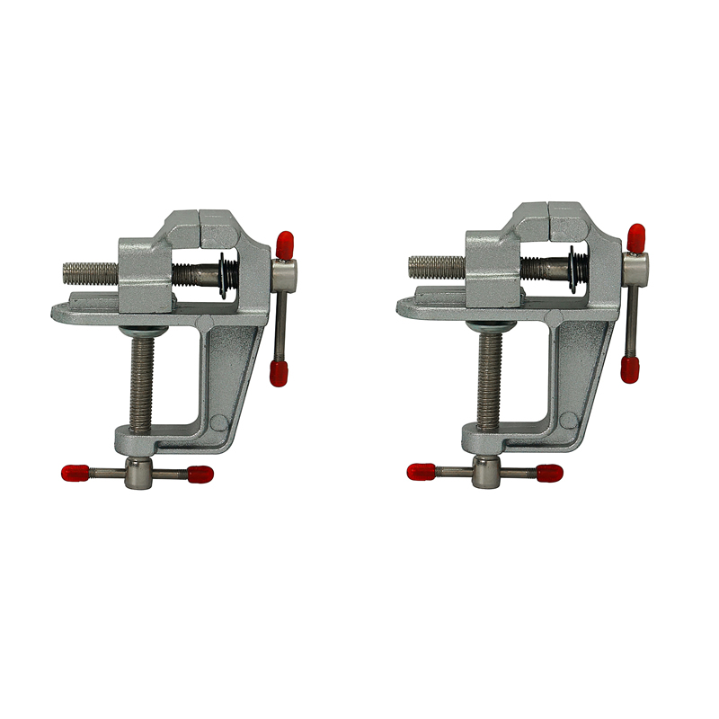 2pcs/lot  Aluminum Miniature Small Jewelers Hobby Clamp On Table Bench Vise Mini Tool Jaw Vice