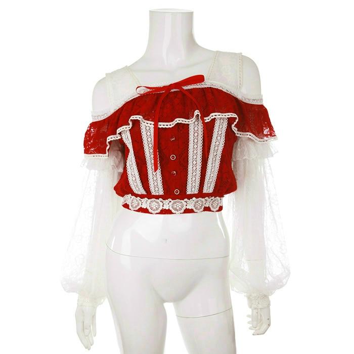 Księżniczka słodki lolita shirt Bobon21 bajki pancerz super piękne latarnia rękaw łączenie bez ramiączek pełna koronki koszula T1514 w Bluzki i koszule od Odzież damska na  Grupa 1