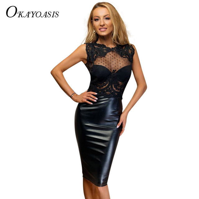 5365e384a4bd2 Sexy Women Lace Patchwork Midi Dress Faux PU Leather Dress Splice  Semi-Sheer Hollow Out Sleeveless Club Bodycon Dress Black