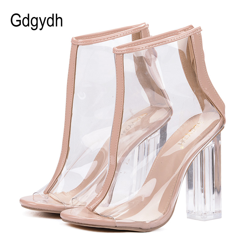Gdgydh chaussures d'été à talons hauts Transparent clair bottines pour femmes bout ouvert talons épais chaussures pour femmes fermeture à glissière arrière taille 40-in Bottines from Chaussures    1