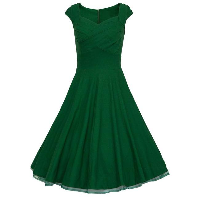 Estilo de Audrey Hepburn 50 s de la vendimia cordón del collar del cuadrado grande swing vestido túnica vestidos mujeres prom cóctel retro 60 s vestidos