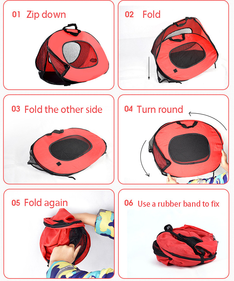 Pet Cat Carrier Bag Cage Portable Collapsible Multi-functional Tent Shape Design Patrern Folding Easily for Dog Cat 6