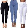 Venda nova Primavera Verão 3 Cores Mulheres Slim Casuais Pés Estreitos Calças Jeans Vintage Cintura Alta Calças Jeans de alta qualidade