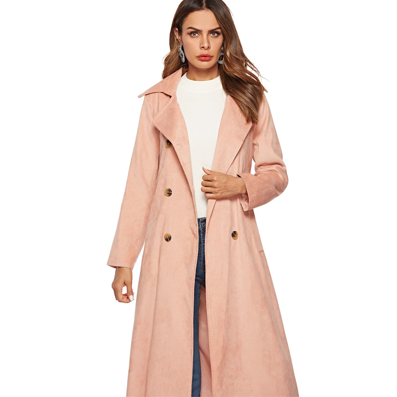 2018 New Autumn Winter Corduroy   Trench   Coat Women Abrigo Mujer Long Elegant Office Outwear Female Overcoat Slim Cardigan   Trench