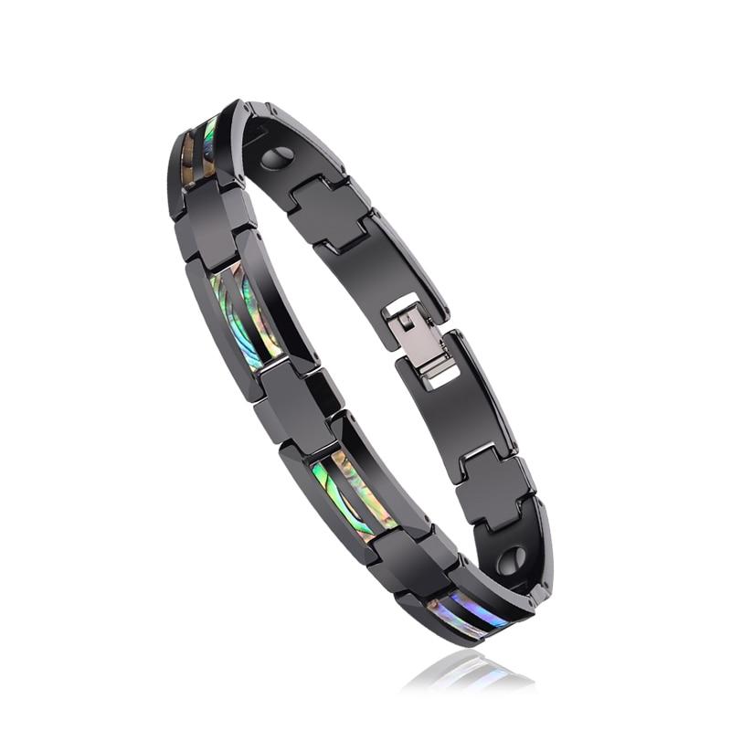 inlay preto cerâmica energia magnética pulseiras para o homem meninos frete grátis
