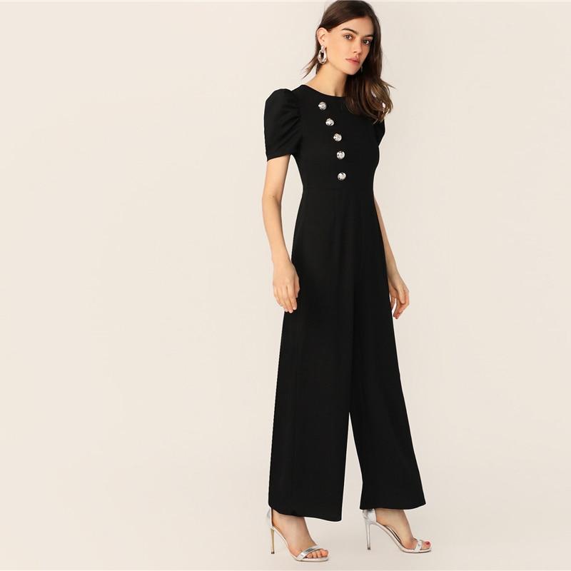 SHEIN Button Embellished Puff Sleeve Wide Leg Jumpsuit Elegant Spring Autumn Women Short Sleeve High Waist Jumpsuit 10