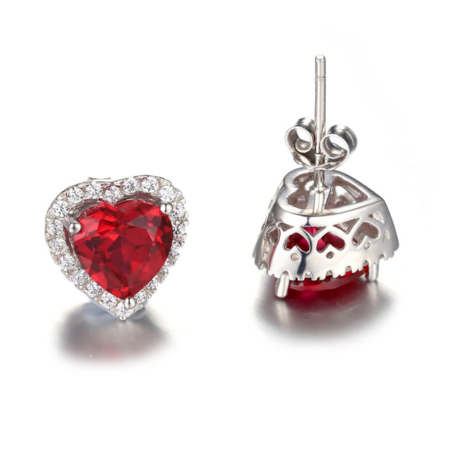 Jewelry Palace Heart 4ct Pigeon Blood Red Ruby Stud Earrings Solid 925 Sterling Silver