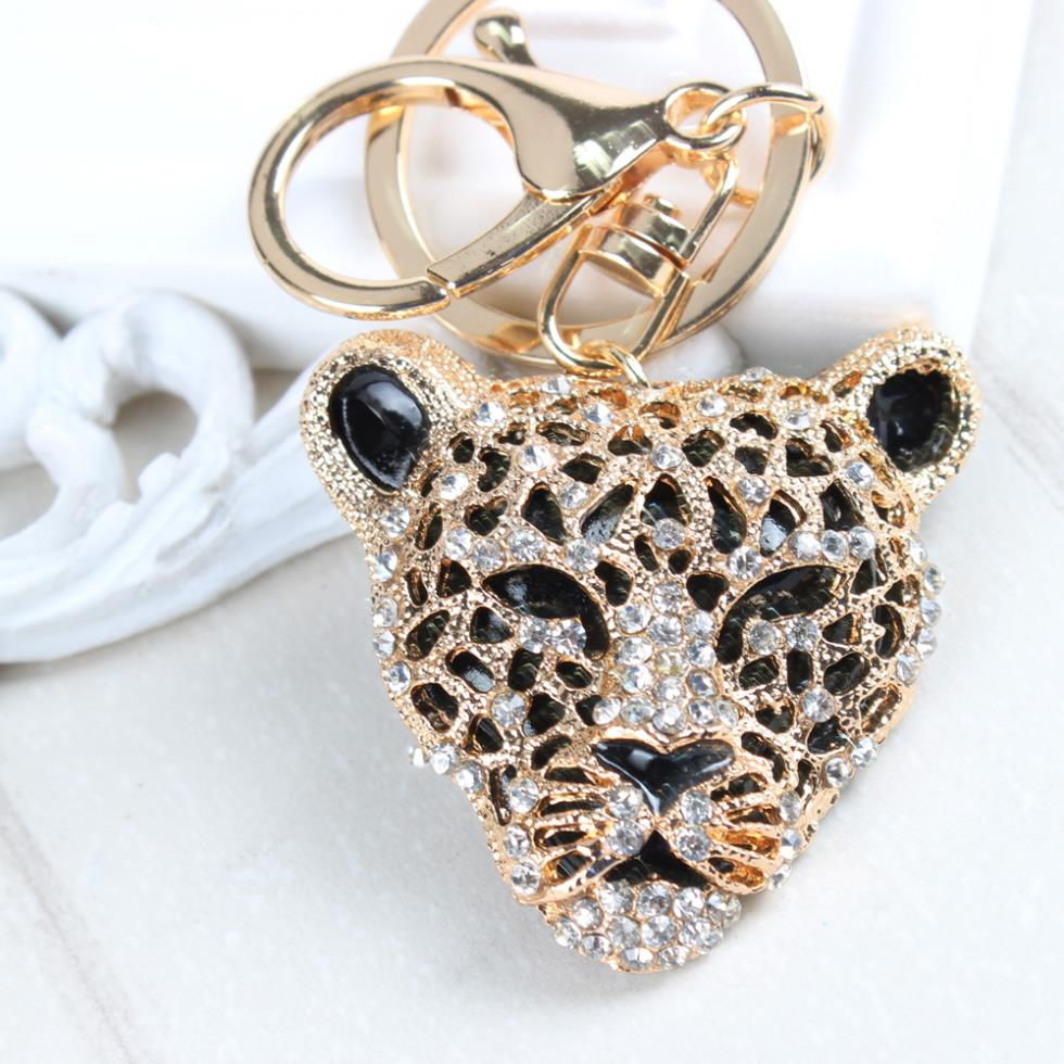 Leopard Lion Head Creative Charm Pendant Purse Bag Crystal Car Key Ring Chain New Fashion Design Good Partner Basic Outfit