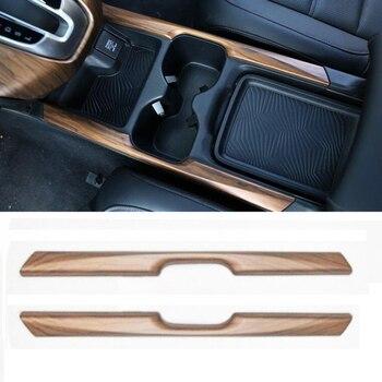 For Honda CRV CR-V 17-18 2pcs Wood Grain Water Cup Holder Stripe Cover Trim Car Sticker Decoration Interior Accessories Mayitr 1