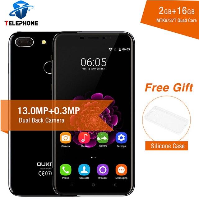 """Оригинальный Oukitel U20 плюс двойная камера смартфона 5.5 """"IPS FHD Экран отпечатков пальцев ID MTK6737T 4 ядра 13MP 3300 мАч Mobile телефон"""
