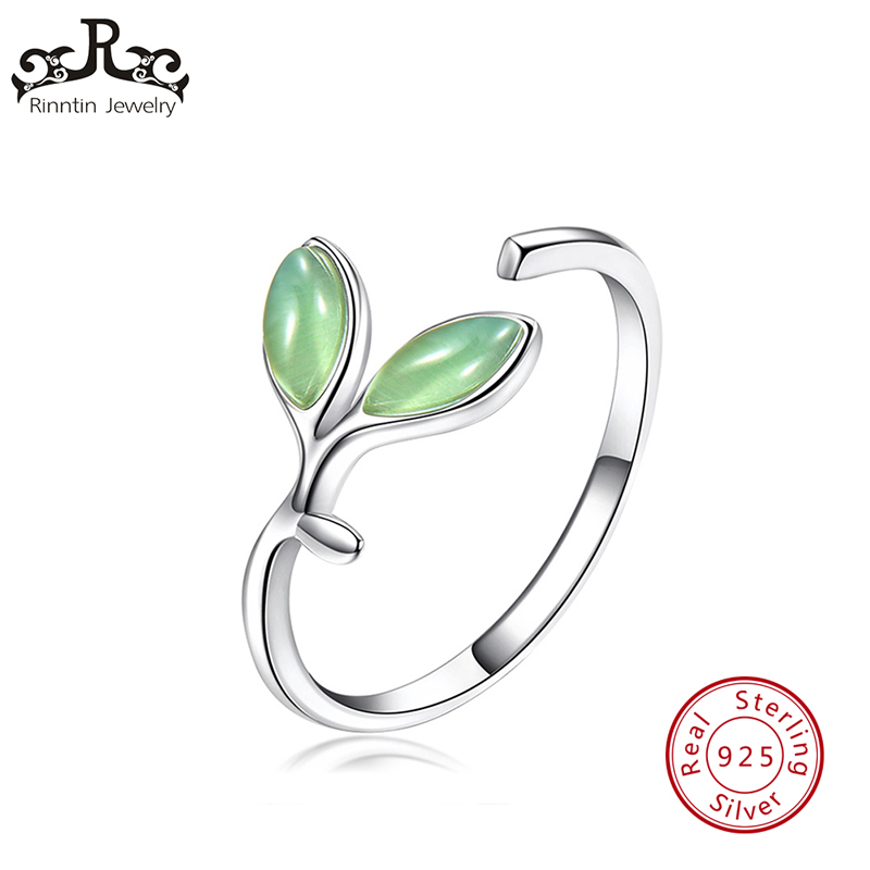 Rinntin Genuine 925 Sterling Silver Rings for Women Cute Leaf Shape Adjustable Open Finger Ring Fine Jewelry Gift for Girl TSR92Rinntin Genuine 925 Sterling Silver Rings for Women Cute Leaf Shape Adjustable Open Finger Ring Fine Jewelry Gift for Girl TSR92
