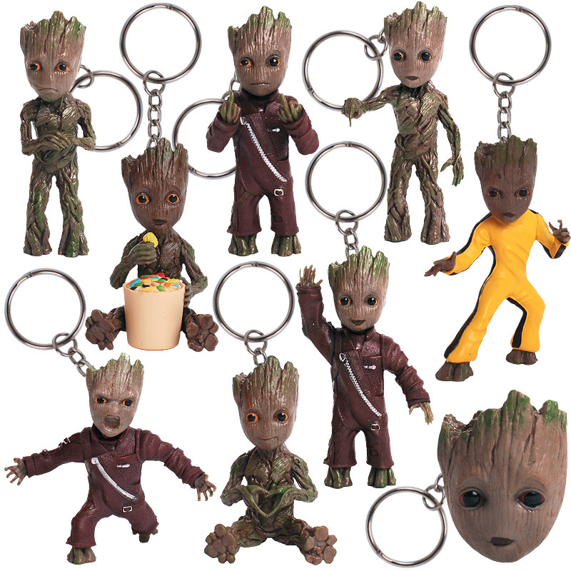 ZXZ Movie Guardians of the Galaxy Q version Treant Grootted Action figure PVC Doll Ornaments Toys Keychain Key Bag Gifts