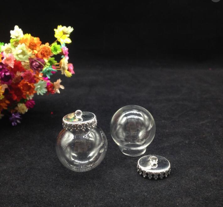 3pcss 25 15mm Clear Glass Globe Necklace Kit Bottle Pendant Diy Top