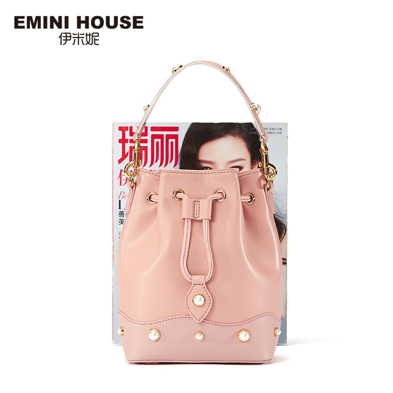 EMINI HOUSE Pearl Series Split Leather Women Bucket Bag Handbag Bags Drawstring Wide Strap Shoulder Bag Crossbady Bags for Women