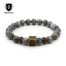 ФОТО 2018 vintage bronze plated dog paw bracelet men natural lava rock pitbull bracelets for women jewelry pulseira masculina am-20